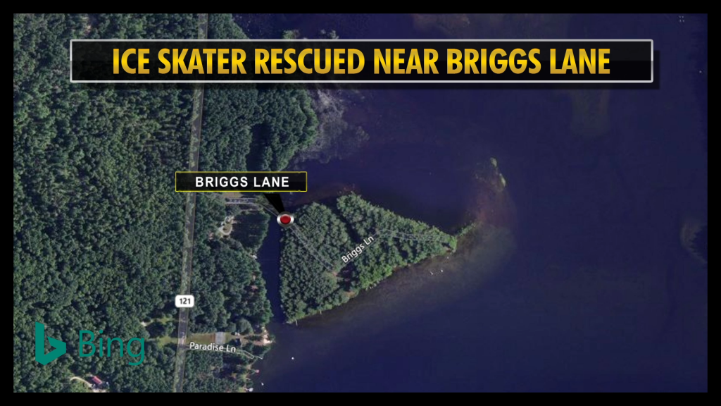 Skater rescued after falling through ice