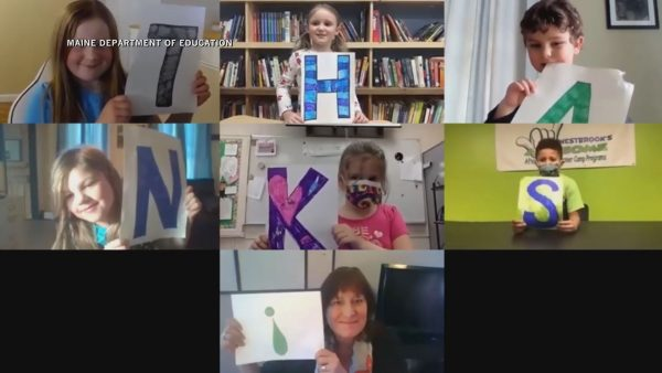 Grade school students thank teachers and school staff in virtual message